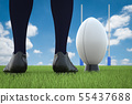 rugby ball with rugby posts on field 55437688