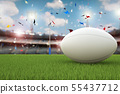 rugby ball with rugby posts on field 55437712