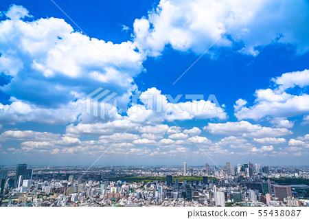 """東京""""藍天白雲·東京都市風景 55438087"""