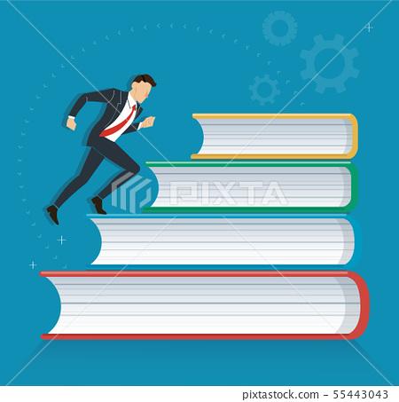 successful businessman running on books 55443043
