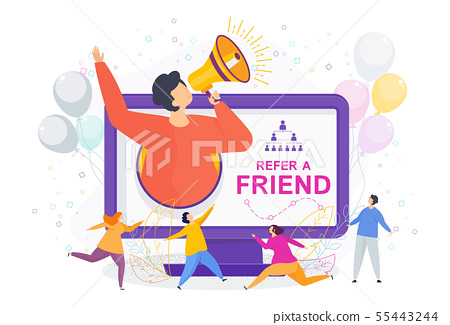Refer a friend concept. Invitation by referral program. 55443244