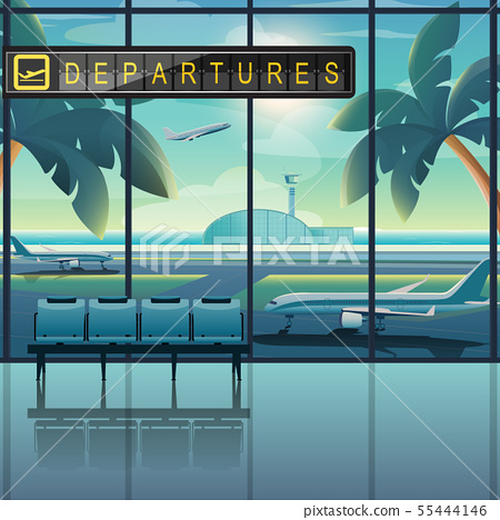 Departures In Tropical Airports And Coconut Trees 55444146