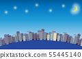 거리 풍경과 밤하늘의 일러스트 소재 55445140