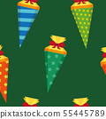 seamless pattern colorful school candy cone 55445789