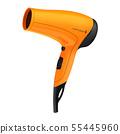 Orange hair dryer isolated on white background 55445960