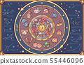 vector cute Zodiac circle Horoscope 55446096