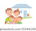 네 명의 가족과 집 상반신 55446109