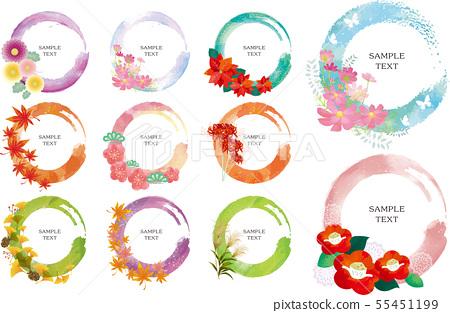 水彩風格:花框架 55451199