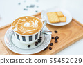 Hot coffee on background served with cream 55452029