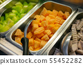 Salad bar include organic vegetables and 55452282