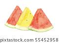 수박 수박 옐로우 레드 세 조각 수채화 55452958