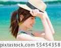 หญิงสาวสวมชุดว่ายน้ำทะเล 55454358