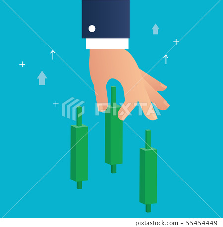 hand holding a candlestick chart stock market icon 55454449