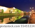 [Hokkaido] Night view of Otaru canal and stone warehouses 55455334