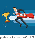 businessman run to success with a winner banner 55455376