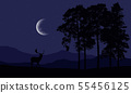 Realistic illustration of a deer silhouette in a 55456125