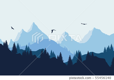 Vector illustration of a mountain landscape with a 55456140