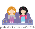 Two girls, sisters sit together on the seat, one 55456216
