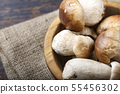 boletus mushrooms on the table top view 55456302