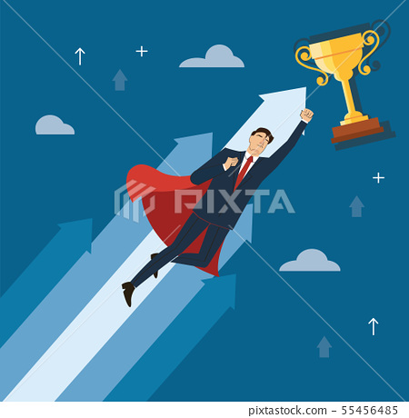 businessman with red cape to success  55456485