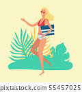Attractive blonde woman goes to the beach, runs or dances in a bikin with a bag and sunglasses. 55457025