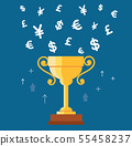 trophy cup with money symbol icon vector 55458237