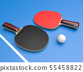Red and black table tennis rackets with ball. On blue background 55458822