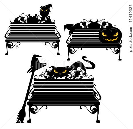 halloween black witch cat sitting on bench vector 55459328