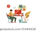 Character working at computer. Trendy modern scene with creative man with laptop at home or cafe 55464038