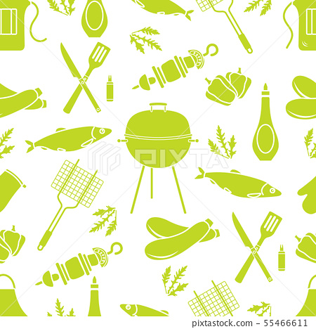 Seamless pattern with grill, barbecue tools BBQ 55466611