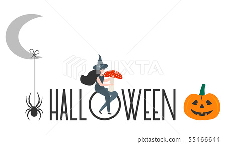 Creepy elements for Halloween 2020 Party card 55466644