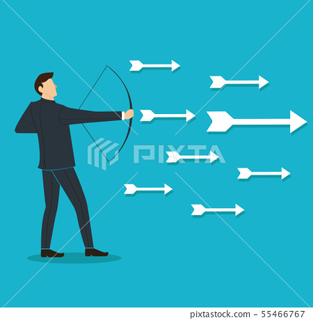 successful businessman aiming target with bow 55466767