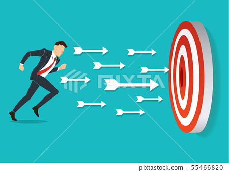 businessman running to target archery  55466820