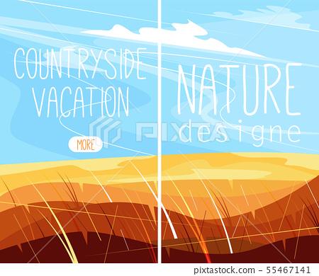 Rural landscape with green hills 55467141