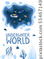 Underwater world design with coral reef fishes 55467149