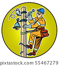electrician on the power pole 55467279