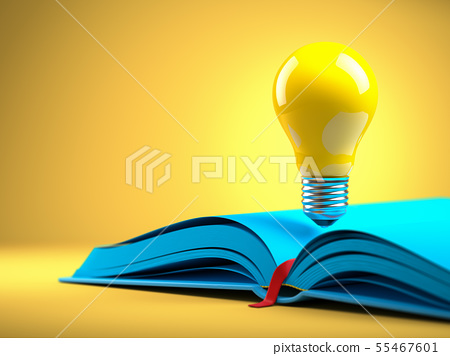 Yellow light bulb on the blue open book. Idean and 55467601