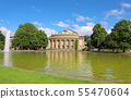 Stuttgart theatre building and fountain in 55470604