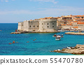Old port Dubrovnik with medieval fortifications on 55470780