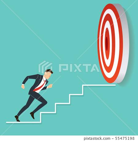 businessman running to target archery 55475198