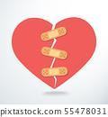 sticking plaster on broken heart icon vector 55478031