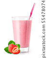 strawberry smoothie in glass 55478074