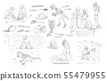 Set of archeology tools and people working on excavation outline sketch style 55479955