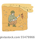 Male archaeologist sitting in pit and researching ancient amphora sketch style 55479966