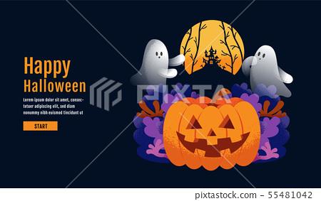 Halloween Banner ,Ghost , Scary ,spooky ,cartoon 55481042