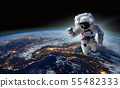 Concept of conquering the universe by the human race. Elements of this image furnished by NASA 55482333