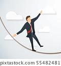 man in crisis walking in balance on rope 55482481