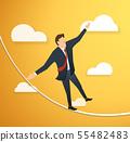 man in crisis walking in balance on rope 55482483
