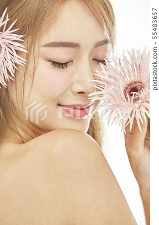 꽃,뷰티,젊은여자 55483657