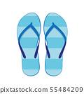 blue flip flops swim wear isolated on a white 55484209